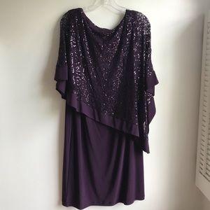 Roz & Ali Dark Purple Sequined Shawl Dress